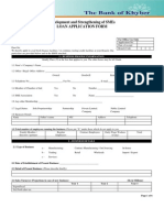 Loan Application Form Development and Strengthening of SMEs