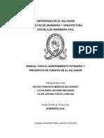 Manual Para El Mantenimiento Rutinario y Preventivo de Puentes de El Salvador