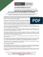 WALTER ALBÁN - PROYECTO DE LEY PARA DEPURAR LA POLICÍA BUSCA EMULAR EXITOSA EXPERIENCIA COLOMBIANA.doc
