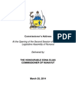 Commissioner's Address, March 20, 2014