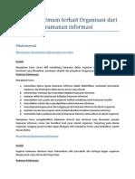 Kebijakan Umum Terkait Organisasi Dari Keamanan Informasi