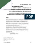 Que saben los adolescentes acerca de los metodos anticonceptivos y como los usan.pdf