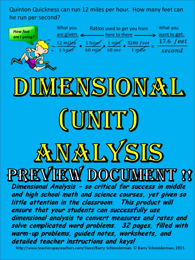 dimensional analysis preview | Fraction (Mathematics) | Ratio