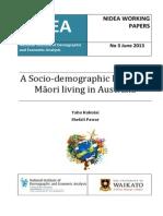 A Demographic Profile of Maori Living in Australia