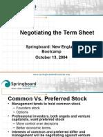 Negotiating the Term Sheet
