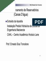ÁGUA FRIA - Cálculo de Reservatórios (AULA 2)