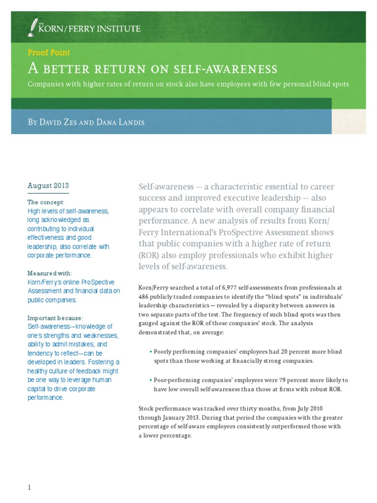 Self Awareness Corresponds with Financial Performance | Self