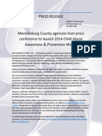 2014 Mecklenburg County Child Abuse Awareness & Prevention Month press conference