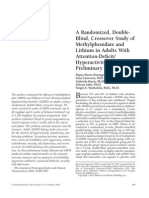a Randomized, Double-Blind, Crossover Study of Methylphenidate and Lithium in Adults With Attention-Deficit:Hyperactivity Disorder- Preliminary Findings