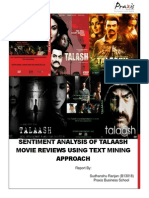 SENTIMENT ANALYSIS OF TALAASH MOVIE REVIEWS USING TEXT MINING APPROACH