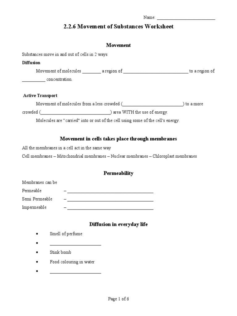 2 2 6 Diffusion Osmosis Worksheet 1 Osmosis Cell Membrane
