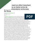 Comportement en Effort Tranchant Des Poutres en Beton Arme de Grandes Dimensions Renforcees de Fibres