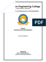 ME1012 Maintenance Engineering Study Materials