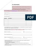 Uniform and Property Receipt Template