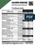 Plan de Estudios 2000 - Profesorado en Educación Inicial