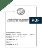 Programa Historia Argentina III 2013
