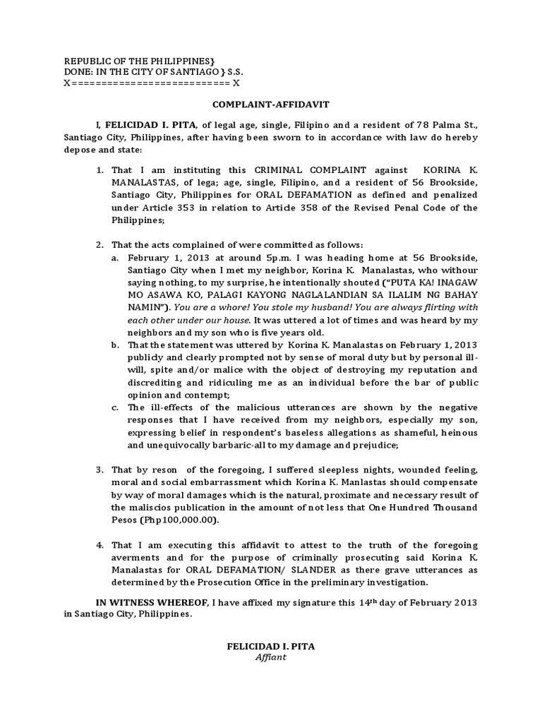 Complaint Affidavit For Oral Defamation   Defamation   Politics  How To Write A Legal Affidavit