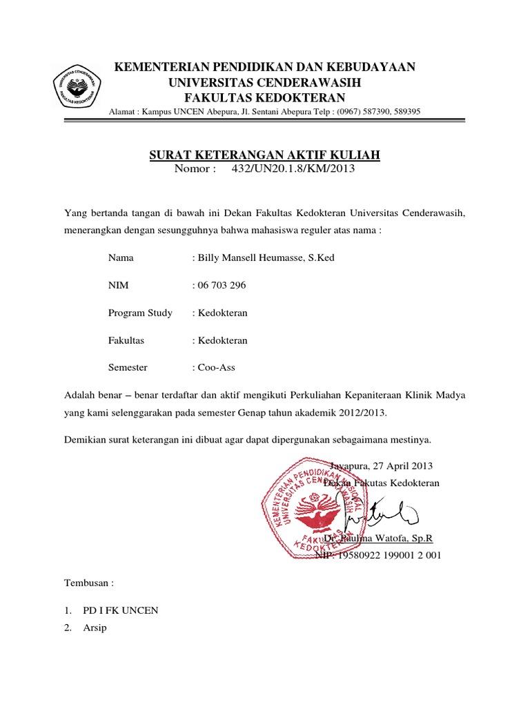 Contoh Surat Pernyataan Aktif Kuliah Br1m Online