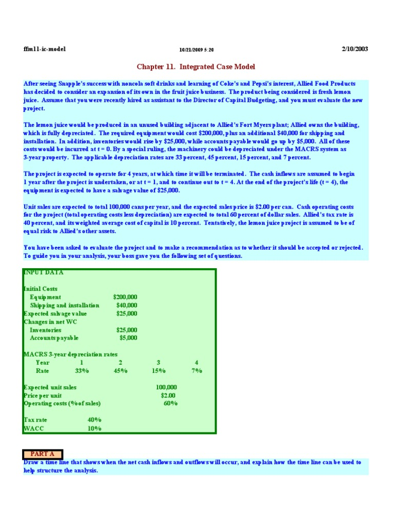 allied food products 11 12 capital budgeting and cash flow estimation