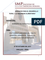 PROTOZOOS FLAGELADOS DEL TRACTO DIGESTIVO, UROGENITAL  Y AQUELLOS TRANSMITIDOS POR ARTRÓPODOS.