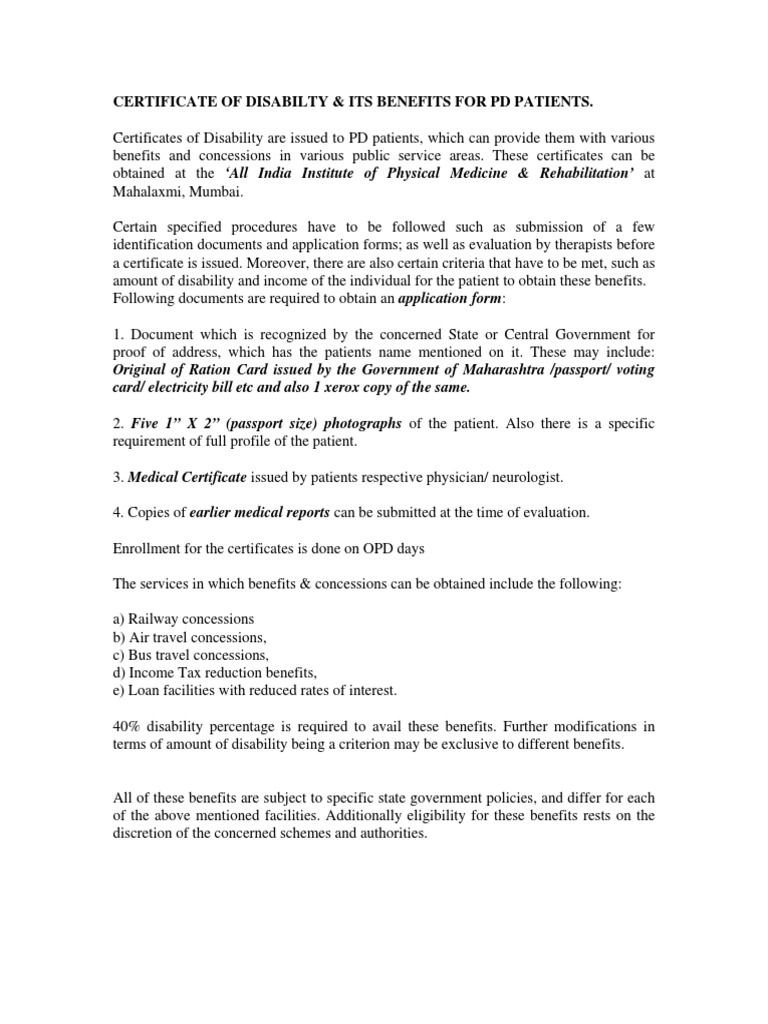 Certificate Of Disabilty Disability Physical Therapy