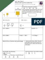 Tenambit PS Maths Assessment Year 6 Term 3