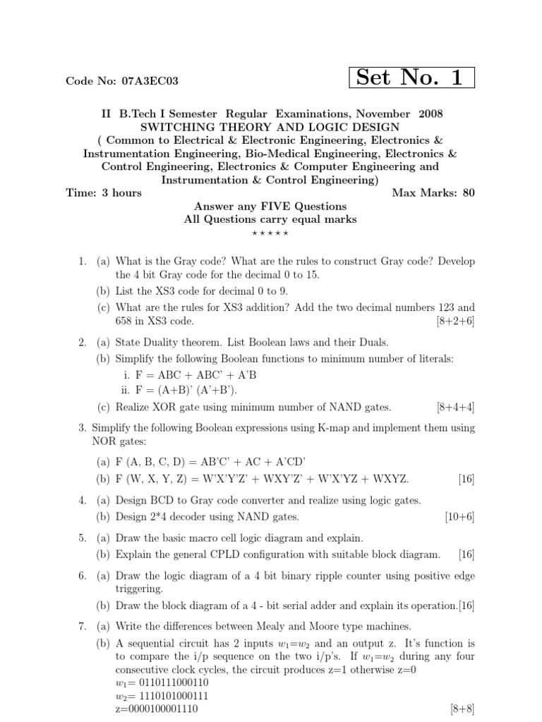 Stld Regular Jntu Question Papers 2008 Logic Gate
