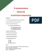 El Mantenimiento Dentro de La Estructura Empresarial