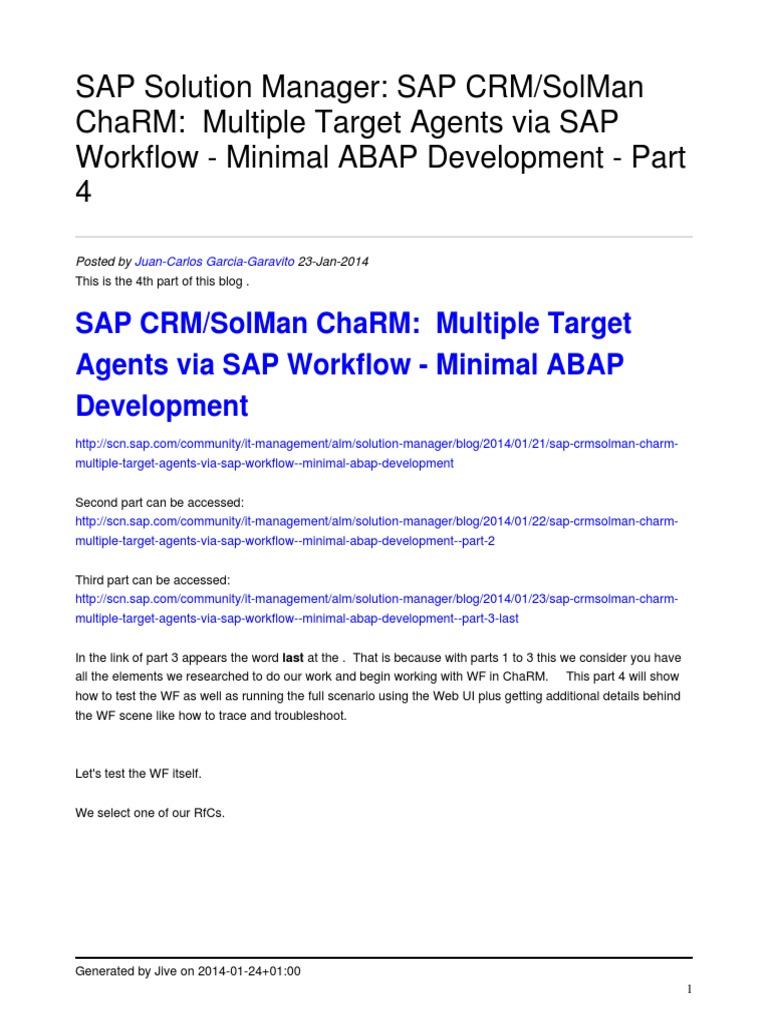 Sap Crmsolman Charm Multiple Target Agents via Sap Workflow