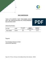 Crompton Greaves Test Certificate