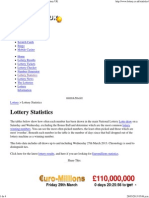 Lottery Statistics, Statistical Analysis, National Lottery UK