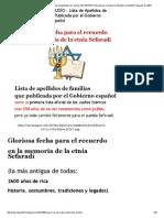SEPA si es de ORIGEN JUDÍO - Lista de Apellidos de Familias SEFARDÍES Publicada por el Gobierno Español