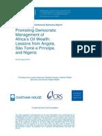 Promoting Democratic Development of Africa Oil Wealth