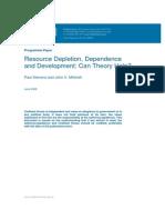 Resource Depletion Dependance and Development