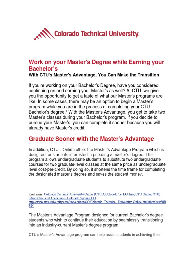 Colorado Technical University Graduate | Master Of Business