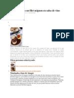 Consejos Para Un Filet Mignon en Salsa de Vino