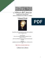 Emmanuel Kant - Critica Del Juicio