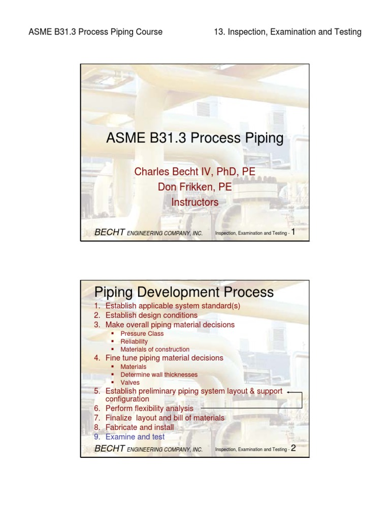 B31.3 Process Piping Course - 13 Inspection, Examination and Testing | Leak  | Pipe (Fluid Conveyance)