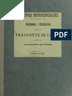 Tarifas diferenciales. Reglamento i clasificación para el transporte de carga por los FF.EE. 1910