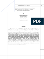 The Level of Effectiveness of Collaborative Strategies used by Parents and SPED Teachers of Children with Developmental Disability (by