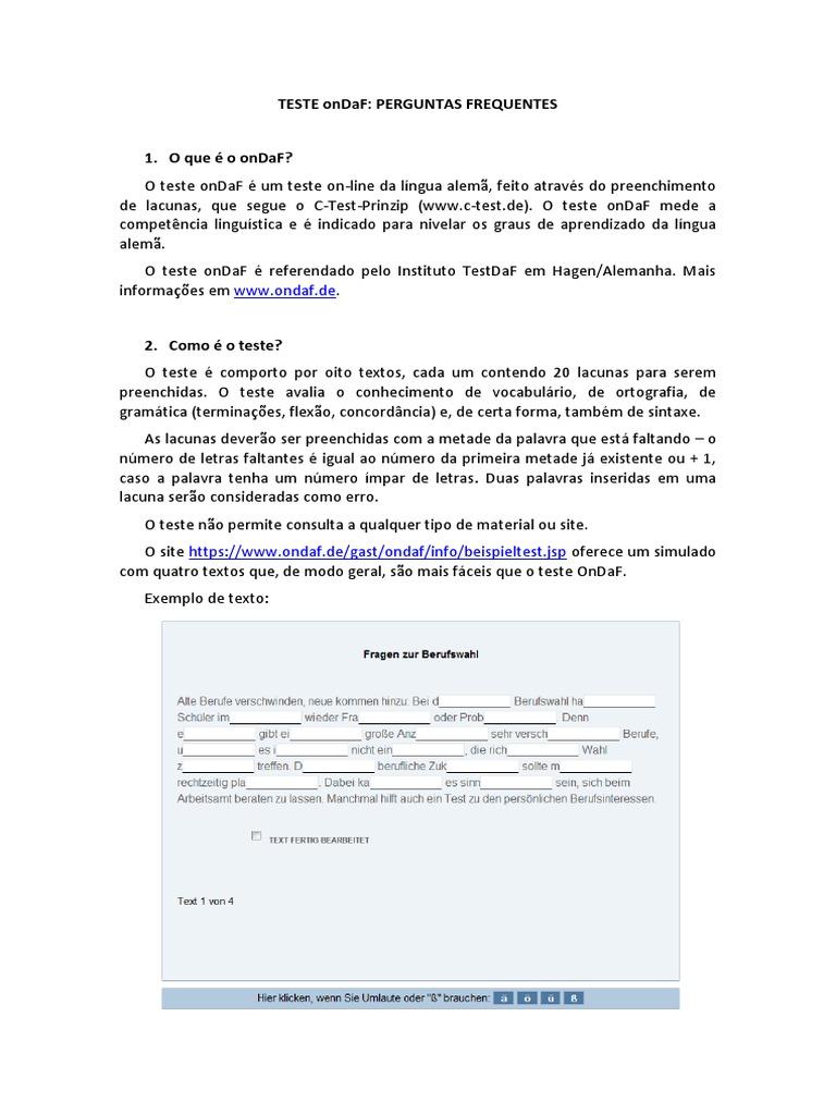 Teste Ondaf: Perguntas Frequentes