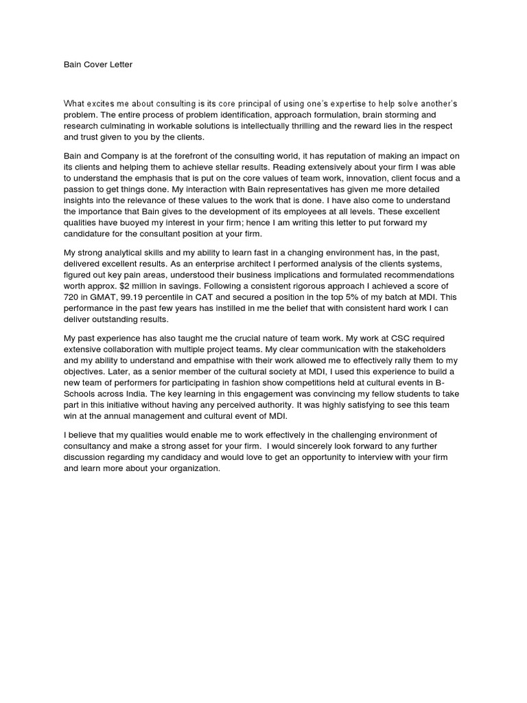 Bain cover letter consultant reputation madrichimfo Image collections