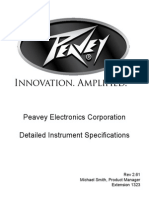 Peavey Guitars Detailed Specifications