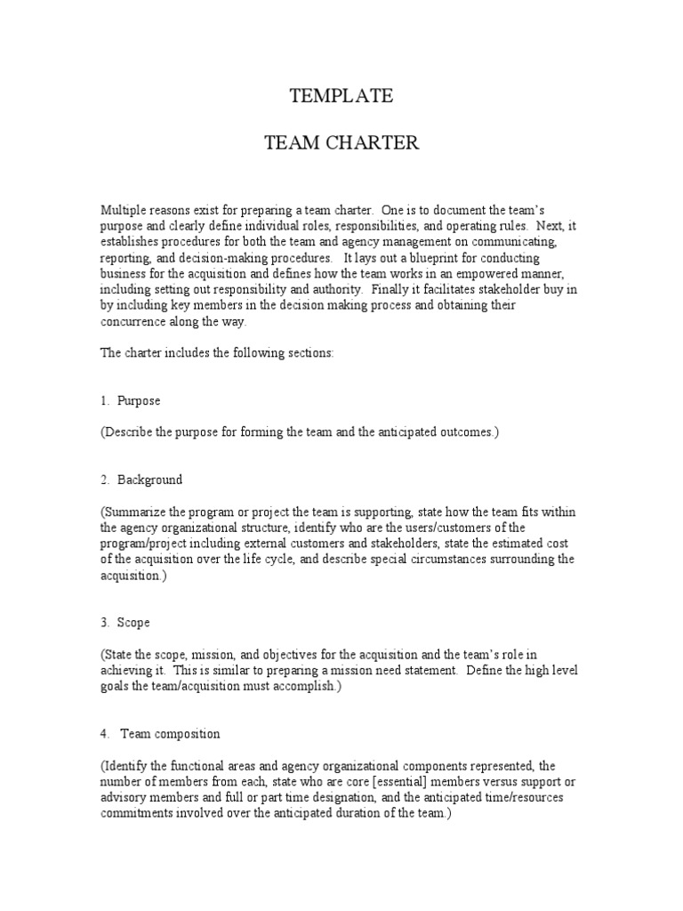 Generic team charter template for Team charter template sample