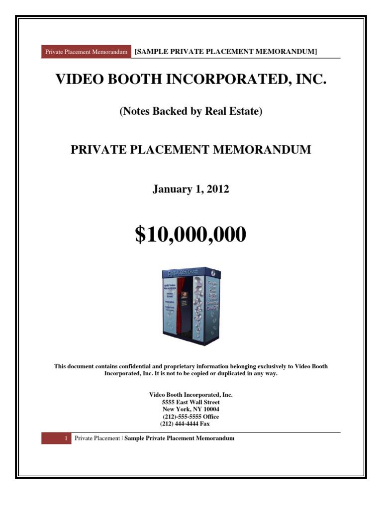 Sample Private Placement Memorandum | Private Placement | Securities Act Of  1933