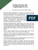 Argentine Senate Oks Bill Legalizing Divorce