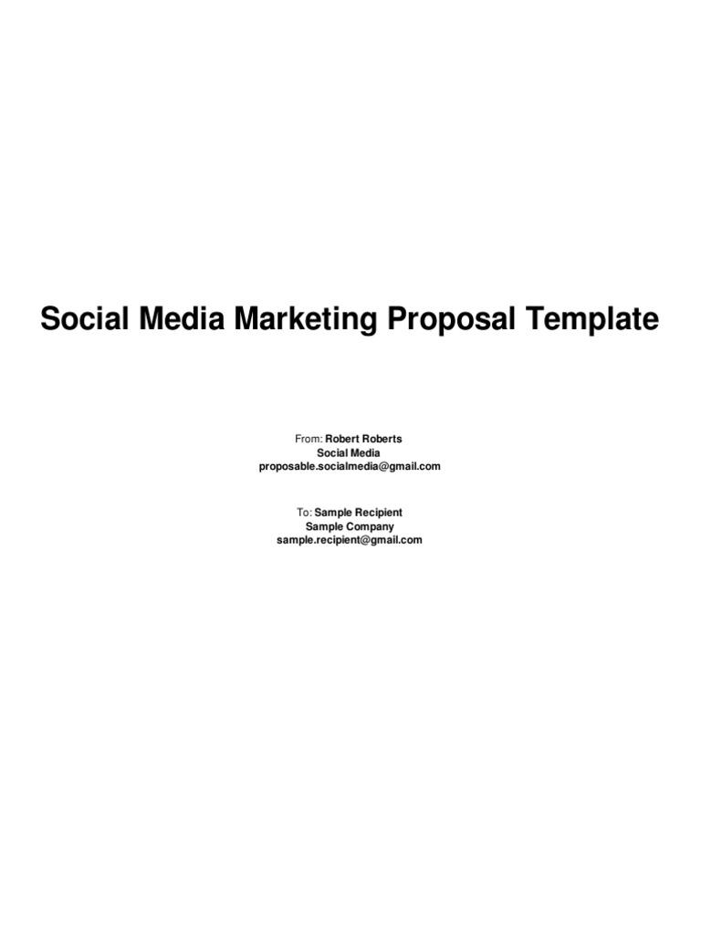 Social Media Marketing Proposal Template Social Media Marketing