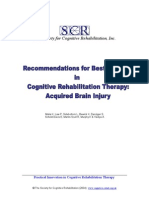 Recommandations for BEST PRACTICE Remediation Brain Injury