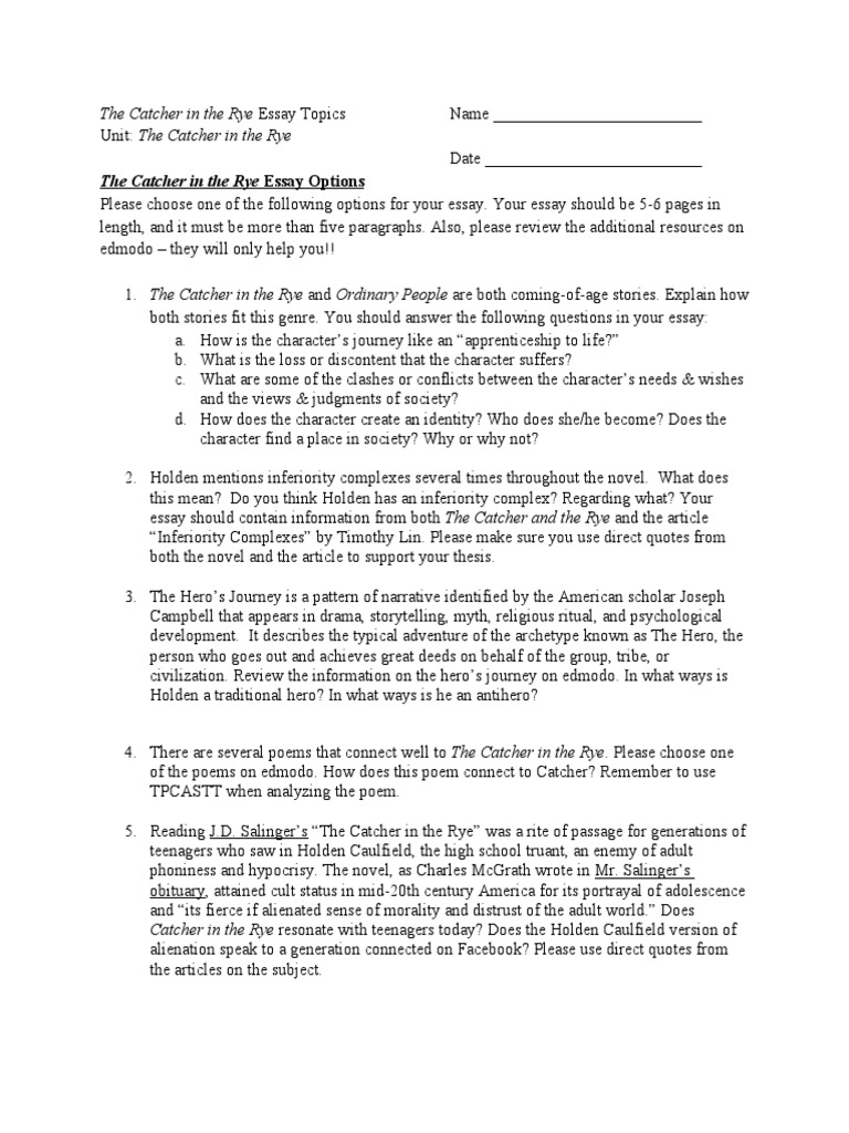 The Catcher in the Rye Synthesis Essay Topics | Poetry