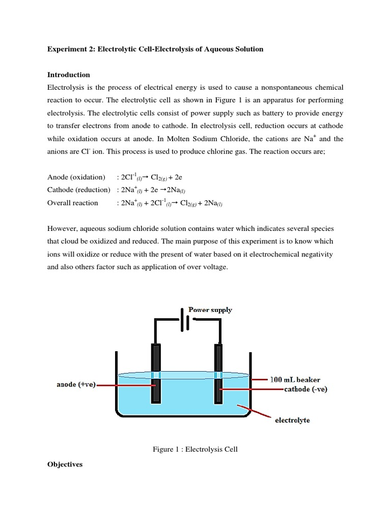 Experiment 2: Electrolytic Cell-Electrolysis of Aqueous